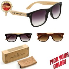 Shop Personalized Wood Sunglasses in Bulk, hand-made premium bamboo wayfarers custom printed with your personal message, logo or art! Wood Print, Message Logo, Sunglasses, Lenses, Temple, Bamboo, Frames, Handmade, Color