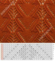 узор 332 ажурные полосы с сердечками| каталог вязаных спицами узоров