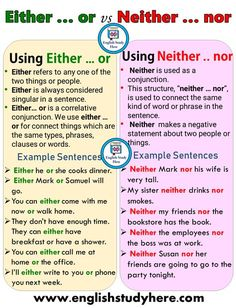 Using Either & or & Neither & nor in English & English Study Here Using [& The post Using Either & or & Neither & nor in English & English Study Here appeared first on Trending Hair styles. English Grammar Rules, Teaching English Grammar, English Idioms, English Language Learning, English Vocabulary Words, English Phrases, Learn English Words, English Study, English Lessons