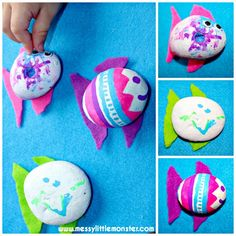 Painted stone fish craft for kids.  Simple summer nature activity ideas for kids.