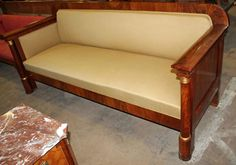 Sofa, Biedermeier style, mahogany, 1910 - 98 cm x 230 cm x 82 cm (h x w x d), www. Antique Furniture, Outdoor Furniture, Outdoor Decor, Armchairs, Sofas, Antiques, Home Decor, Style, Wing Chairs