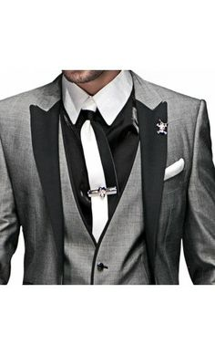 Black Shirt With White Collar And Cuffs