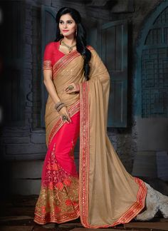 Buy gorgeous women indian designer sarees online for occasions. Buy this hot pink lycra, net and shimmer georgette designer saree. Customization and free shipping worldwide.