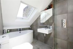 Loft conversion bathroom Loft Ensuite, Loft Bathroom, Bathroom Layout, Bathroom Interior Design, Small Attic Bathroom, Upstairs Bathrooms, Loft Room, Bedroom Loft, Loft Conversion Bedroom