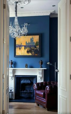 Victorian Home Office & Library. White fire surround with ornate corbels… Blue Rooms, Blue Walls, Blue Bedroom, Living Room Designs, Living Room Decor, Living Room With Fireplace, Traditional Home Offices, Traditional Kitchens, Brown And Blue Living Room