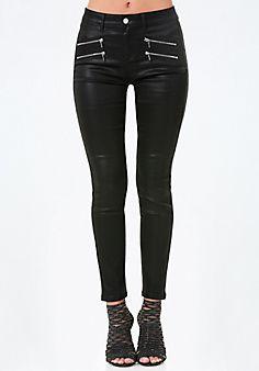 Coated+Zip+Skinny+Jeans #bebe #pinyourwishlist