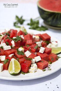 Watermelon feta salad. Watermelon and feta cheese? Yes please! www.myeasygourmet.net