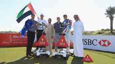 ABU DHABI, UNITED ARAB EMIRATES - JANUARY 19:  Henrik Stenson of Sweden, Rory McIlroy of Northern Ireland, Jordan Spieth and Rickie Fowler of the United States and pictured during a photocall with members of the Abu Dhabi Sports Council at Saadiyat Beach Golf Club prior to the Abu Dhabi HSBC Golf Champinoship on January 19, 2016 in Abu Dhabi, United Arab Emirates.  (Photo by Matthew Lewis/Getty Images)
