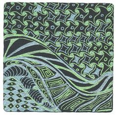 Green & Blue Sukara Gelly Rolls on Black Tile by Sharla Hicks, Certified Zentangle Teacher ©2011. Sharla teaches Zentangle at Soft Expressions in Anaheim CA
