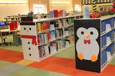 Decorating the ends of the shelves for holidays. Cute!