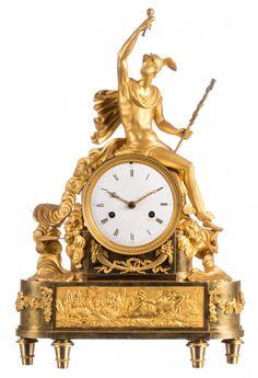 French bronze ormolu mantel clock with a Mercury statue. Antique Watches, Antique Clocks, Vintage Watches, Vintage Clocks, Mantel Clocks, Mantle, Old Antiques, French Antiques, French Clock