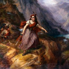 Helen MacGregor in the Conflict at the Pass of Loch Ard by Siegfried Detlev Bendixen.  Helen was the wife of Rob Roy MacGregor, a Scottish folk hero and outlaw during the early 18th century.