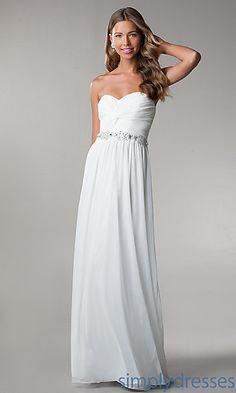 Dresses, Formal, Prom Dresses, Evening Wear: Floor Length Strapless Dress with Embellished Waist