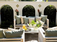 The experts share tips on how to create your dream outdoor space for less than $500. Mediterranean Courtyard  These simple benches were made using recycled timber from the surrounding trees. Designer Jamie Durie suggests splurging on a few items, such as the hand-painted tiles displayed on the wall. The extra detail will add a luxurious look to your outdoor space.