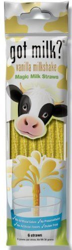 Banana Magic Milk Straws 6 Pack by Milk Straws. $3.74. Magic Milk Straws are a fun, mess-free way to enjoy a cold glass of milk. The rich, all-natural Banana milk straws magically transform dairy, soy or lactose-free milk into a delicious and [nutritious] treat. And no refrigeration is necessary, so you can pack them in a lunchbox or take them to the field.   Make your milk more awesome in 3 easy steps: STEP 1: Dip your Magic Milk Straw into a cup of Plain White Milk. Do no...