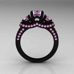 Black Engagement Ring With Pink Diamonds