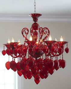 """Red Chianti"" Chandelier at Horchow. - I'm not a chandelier type person, but this one is awesome. Red Chandelier, Modern Chandelier, Chandelier Lighting, Crystal Chandeliers, Closet Chandelier, Ceiling Lighting, Light In, Lamp Light, White Ceiling"