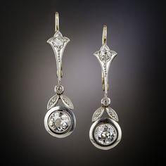 Art Deco Mine-Cut Diamond Drop Earrings