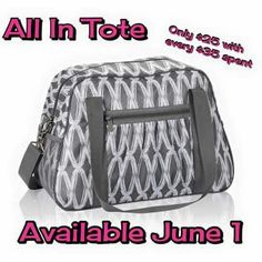 SEASONAL EXCLUSIVE AVAILABLE ONLY IN JUNE ~ NEW All In tote is available for $25 to Customers who can choose from 4 prints when they spend $35  Party Hostesses get it in a bundle for FREE with a $600 party.  www.mythirtyone.com/484828