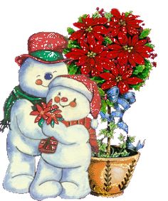 Mr. And Mrs. Snowman and a Poinsettia Bush