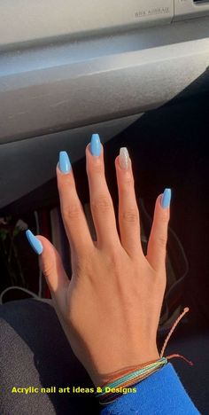 New and Trending Nail Color ideas for Pretty long nails. Nails New and Trending Nail Color ideas for Pretty long nails. New and Trending Nail Color ideas for Pretty long nails. Acrylic Nails Coffin Short, Simple Acrylic Nails, Acrylic Nail Designs For Summer, Acrylic Nail Designs Coffin, Blue Coffin Nails, Stiletto Nails, Black Nails, Blue Nail Designs, Simple Nails