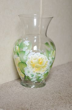 Yellow Rose hand painted on a large glass vase.