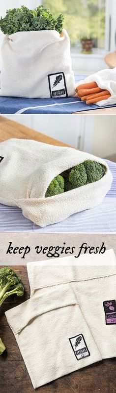This ingenious vegetable bag keeps produce crisp and fresh longer. MoreThis ingenious vegetable bag keeps produce crisp and fresh longer. Fee Du Logis, Coin Couture, Produce Bags, Reduce Waste, Sustainable Living, Bag Storage, Sustainability, Sewing, Eco Friendly