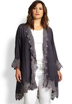 Johnny Was Plus Size Embroidered Trim Jacket
