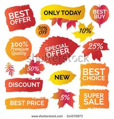 Gradient colourful autumn leaves prints, best price, sale banner, labels, shapes. Vector set collection of paint brush strokes isolated on white background. Hand drawn grunge design elements set.