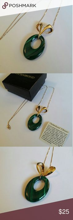 Vintage SS 18k good Malachite Pendant GORGEOUS Vintage SS 18k gold Malachite Pendant in Box with Technibond Warranty.   Malachite personifies the healing-green colors of nature. Some even identify it as a stone of transformation, able to assist with spiritual growth. Regardless of your beliefs, Malachite remains a gemstone sought after as much for its beauty, as for its metaphysical properties. Its beautiful stripes of rich, green color bring a touch of regal elegance to any outfit. PERFECT…