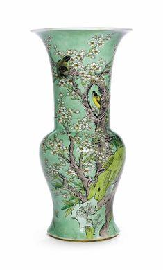 A famille verte 'Phoenix-tail' vase, Kangxi period (1662-1722)