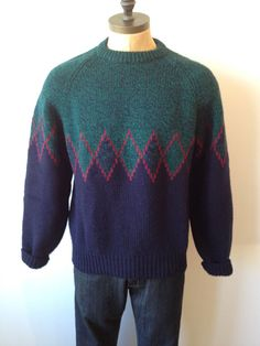 Vintage MENS Gap blue green & burgundy wool crew by pandaJpanda, $28.00