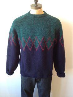 Vintage MENS Gap blue green & burgundy wool crew by pandaJpanda, $28.00