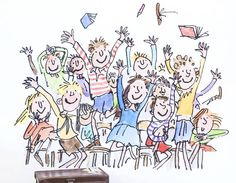 Transform your walls with this splendiferous sticker of smiling children, illustrated by Quentin Blake for Roald Dahl's 'Matilda'.