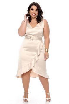 Vestido Plus Size Armelyn Plus Size Short Dresses, Big Size Dress, Wedding Dresses Plus Size, Plus Size Outfits, Big Size Fashion, Curvy Girl Fashion, Plus Size Fashion For Women, Plus Size Girls, Plus Size Women