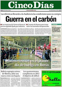 Los Titulares y Portadas de Noticias Destacadas Españolas del 19 de Febrero de 2013 del Diario Cinco Días ¿Que le parecio esta Portada de este Diario Español?