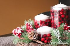 christmas floating candle centerpieces   Christmas Countdown Day 15: Christmas Centerpieces