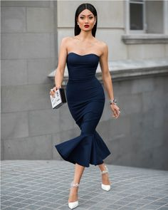 tube mermaid dress with party clutch