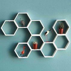 Retro hexagonal shelves