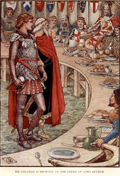 Sir Galahad is Brought to the Court of King Arthur, Art by Walter Crane, 1911