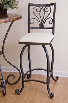 rod iron bar stools with regard to House Wrought Iron Bar Stools, Wrought Iron Decor, Bar Stool Chairs, Swivel Counter Stools, Iron Furniture, Interior Design Living Room, House Design, Decoration, Home Decor
