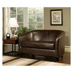 Leather Loveseat - Dark Brown - HS-SF-023
