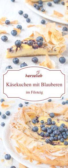 Rezept für Käsekuchen mit Blaubeeren im Filoteig. Eines meiner liebsten Kuchen Rezepte!