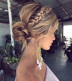 50 Fabulous Braided Updo Hairstyle Women Ideas - Up hairstyles - Frisuren Easy Summer Hairstyles, Up Hairstyles, Hairstyle Ideas, Formal Hairstyles, Updo Hairstyles For Homecoming, Everyday Hairstyles, Braided Front Hairstyles, Bridesmaid Updo Hairstyles, Prom Updo