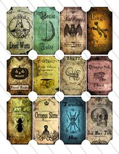 Halloween Bottle Jar Labels Tags printable images digital collage sheet by Vectoria Designs via Etsy.