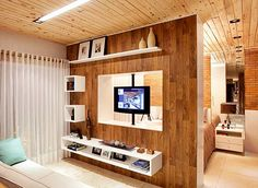 Awesome Salas Pequenas that you must know, You're in good company if you're looking for Salas Pequenas Tv Unit Furniture Design, Tv Unit Design, Tv Wall Design, Living Room Partition Design, Room Partition Designs, Modern Tv Wall Units, Living Room Tv, Living Area, Cool Apartments
