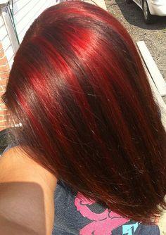 red highlights in medium brown hair Red Highlights In Brown Hair, Red Brown Hair, Burgundy Hair, Peekaboo Highlights, Hair Dye Tips, Dye My Hair, Hair Color Streaks, Hair Dye Colors, Red Hair Inspo
