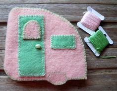 Handmade needle case / needle book - hand embroidered - vintage caravan