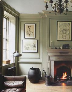 Living Room Paint Ideas Grey Farrow Ball New Ideas Farrow And Ball Living Room, Living Room Green, New Living Room, Living Room Decor, Living Room Color Schemes, Living Room Colors, Living Room Paint, Grey Fireplace, Fireplace Hearth