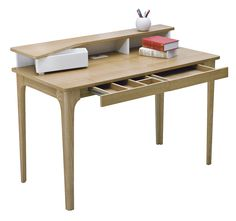 Natural Staten Hutch Desk - my office makeover NEEDS this desk. It was love at first sight - I am daydreaming about the perfect space I could create with this desk. Office Works, Study Office, Dream Desk, My Workspace, Desk Hutch, Office Makeover, Home Office Desks, Craft Storage, Dining Bench